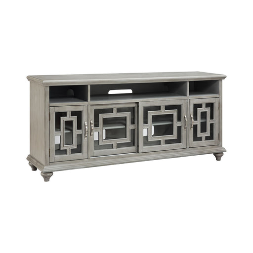 16653 Barron 72 Inch Entertainment Console Clear, Grey, Hand-Painted
