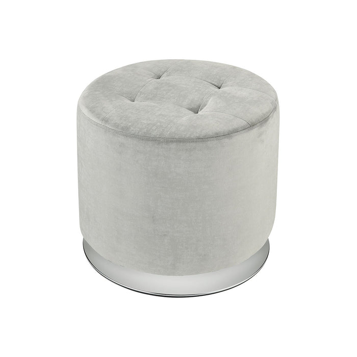 16914 Lilliebeth Light Grey Velvet With Chrome Base Ottoman Light Grey Velvet, Chrome Base