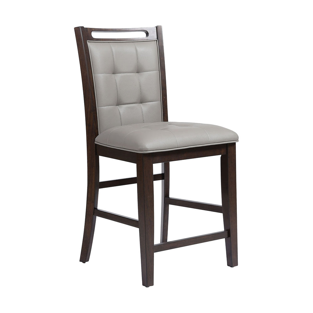 16997 Lyman Grey Counter Stool Grey Faux Leather Fabric, Arabica Finish