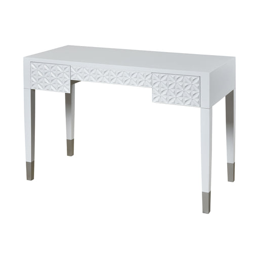 17037 Century City 2 Drawer Desk Gloss White, Silver