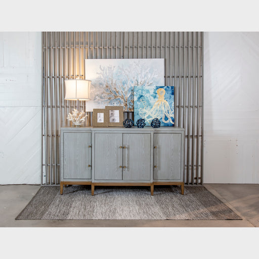 17074 Geneva Media Console Light Ash Grey, Gold, Clear