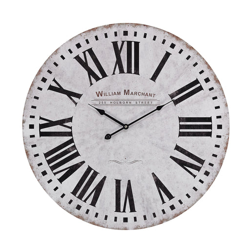 171-005 Aged White Call Clock Black, White