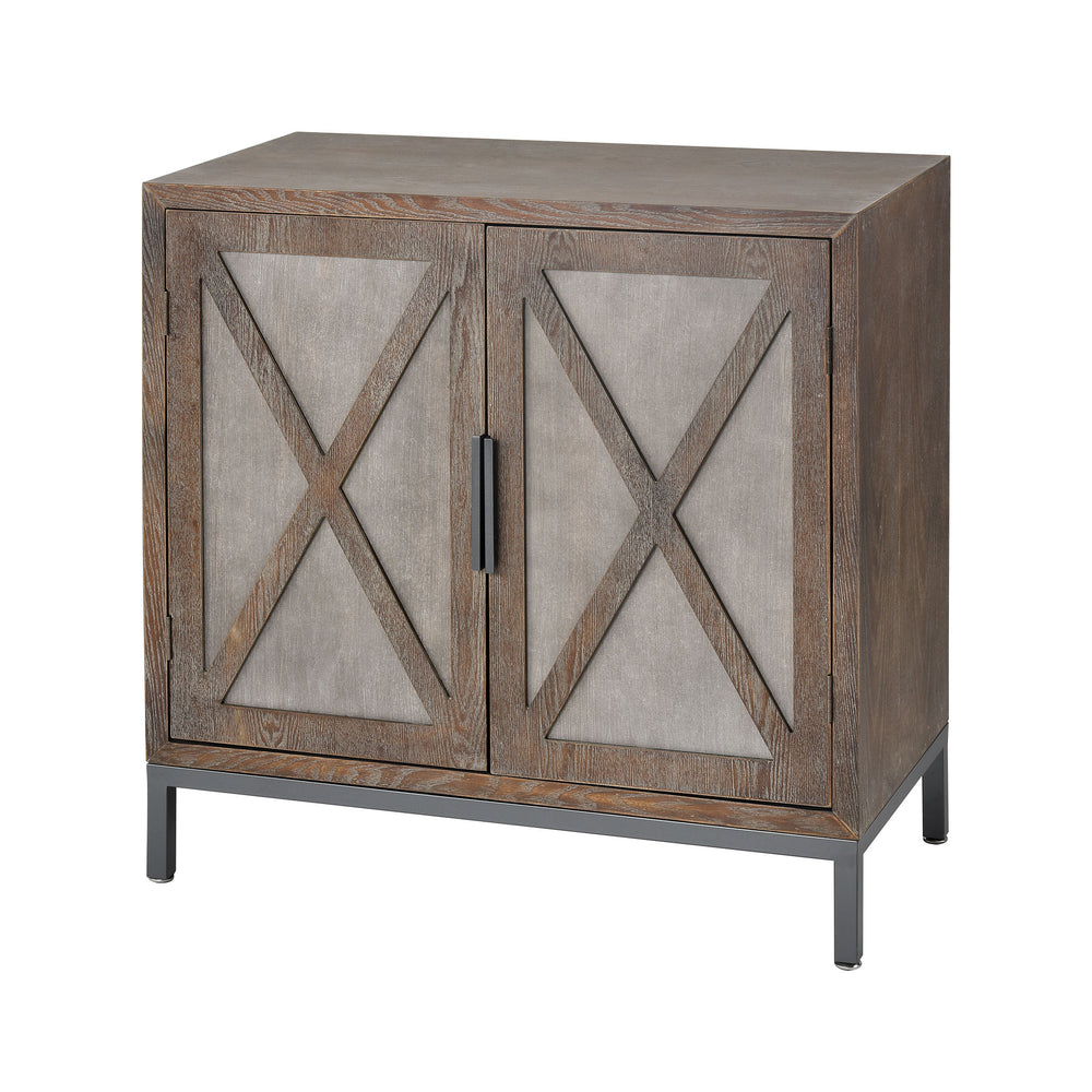 17181 Great Platte 2 Door Cabinet Concrete, Medium Oak Veneer