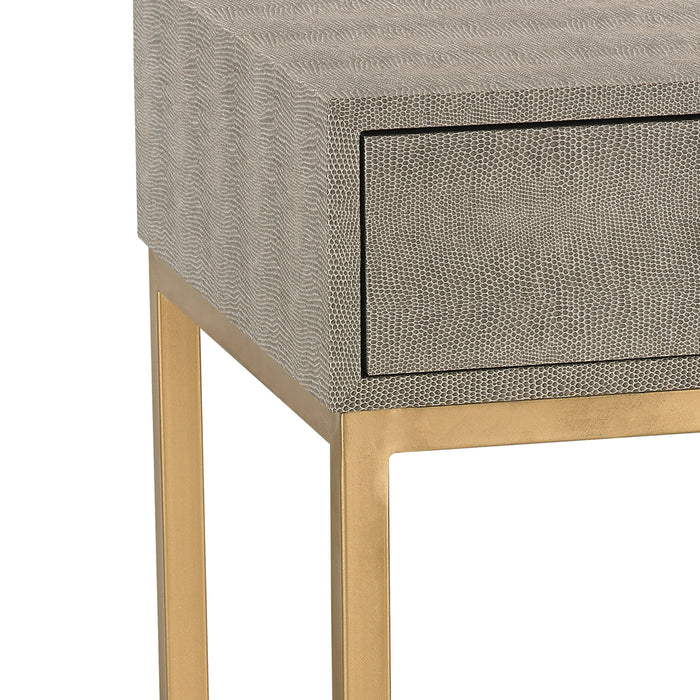 180-010 Shagreen Side Table In Grey Gold, Grey Faux Shagreen