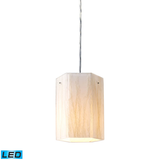 ELK Lighting 19031/1-LED Modern Organics-1 Light Pendant In White Sawgrass Material In Polished Chrome Polished Chrome Free Parcel Delivery