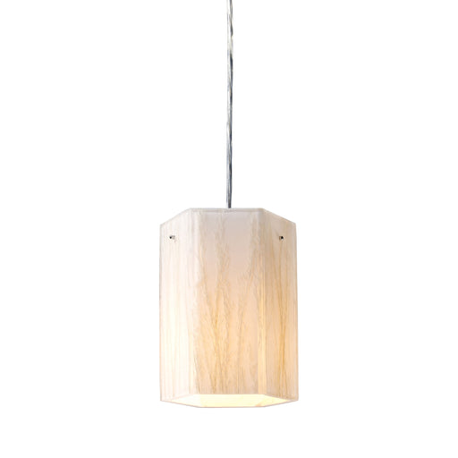 ELK Lighting 19031/1 Modern Organics-1 Light Pendant In White Sawgrass Material In Pol Chrome Polished Chrome Free Parcel Delivery
