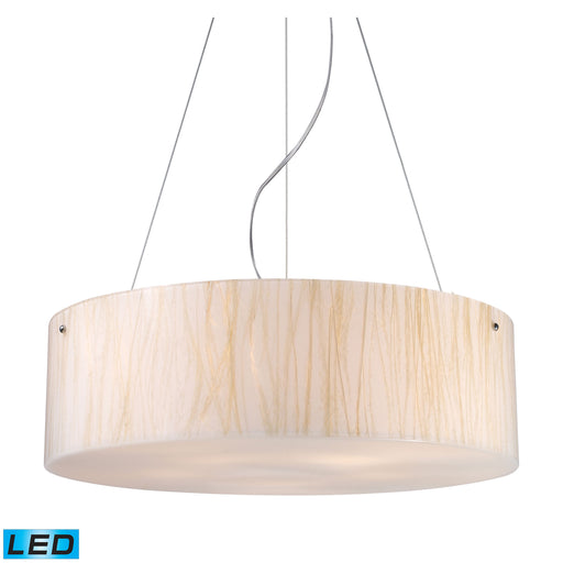 ELK Lighting 19033/5-LED Modern Organics-5 Light Pendant In White Sawgrass Material In Polished Chrome Polished Chrome Free Parcel Delivery