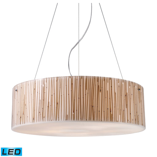 ELK Lighting 19063/5-LED Modern Organics-5 Light Pendant In Bamboo Stem Material In Polished Chrome Polished Chrome Free Parcel Delivery