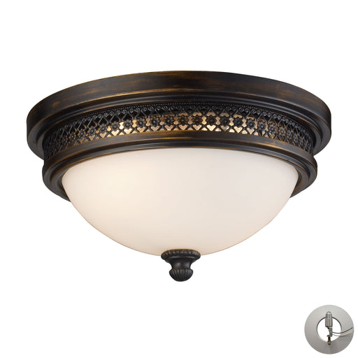 ELK Lighting 20100/2-LA 2 Light Flush Mount In Deep Rust And Opal White Glass - Includes Adapter Kit Deep Rust Free Parcel Delivery