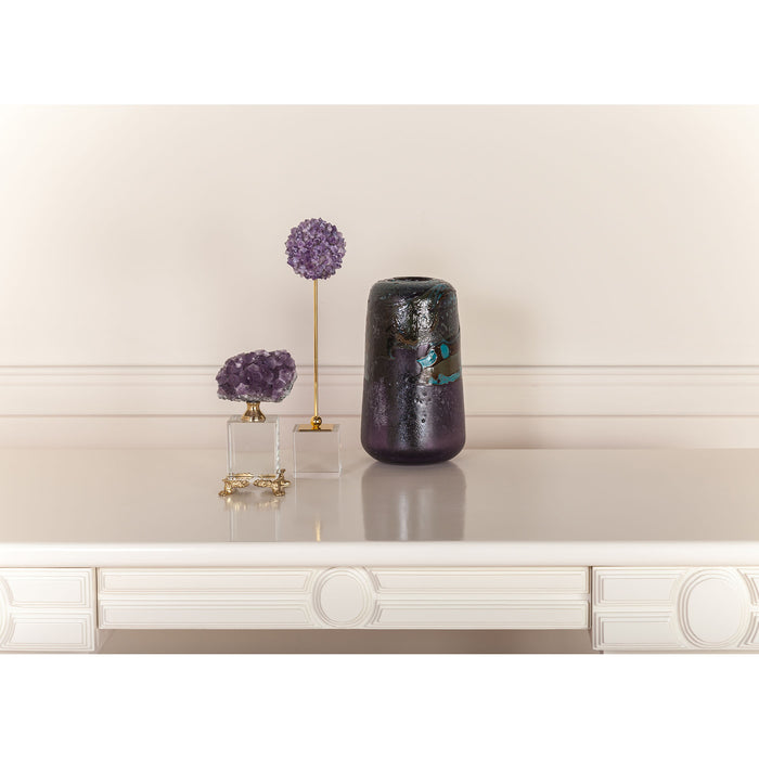 2215-1007 Roque Opera Decorative Accessory Natural Purple Stone, Clear Crystal, Brass