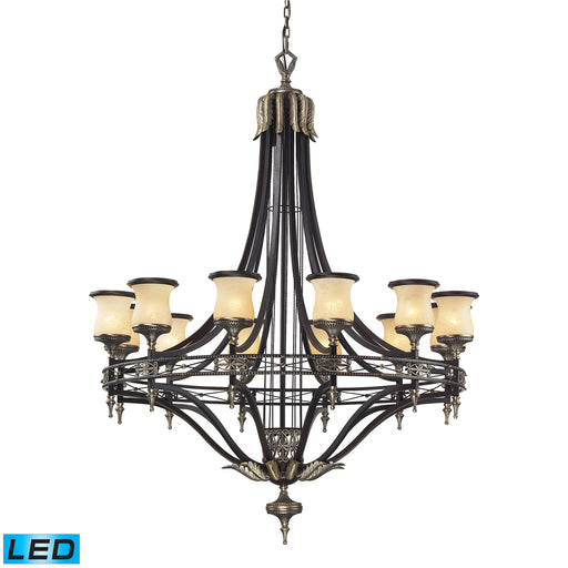 ELK Lighting 2434/12-LED 12 Light Chandelier In Antique Bronze And Dark Umber And Marbleized Amber Glass Antique Bronze, Dark Umber Free Threshold Delivery