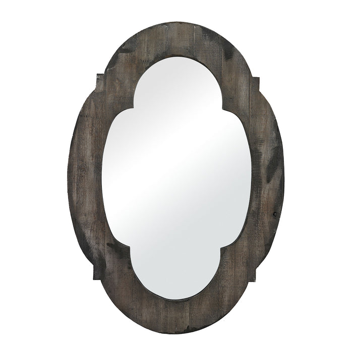 26-8654 Wood Framed Mirror Aged Wood, Hand Rubbed Gold