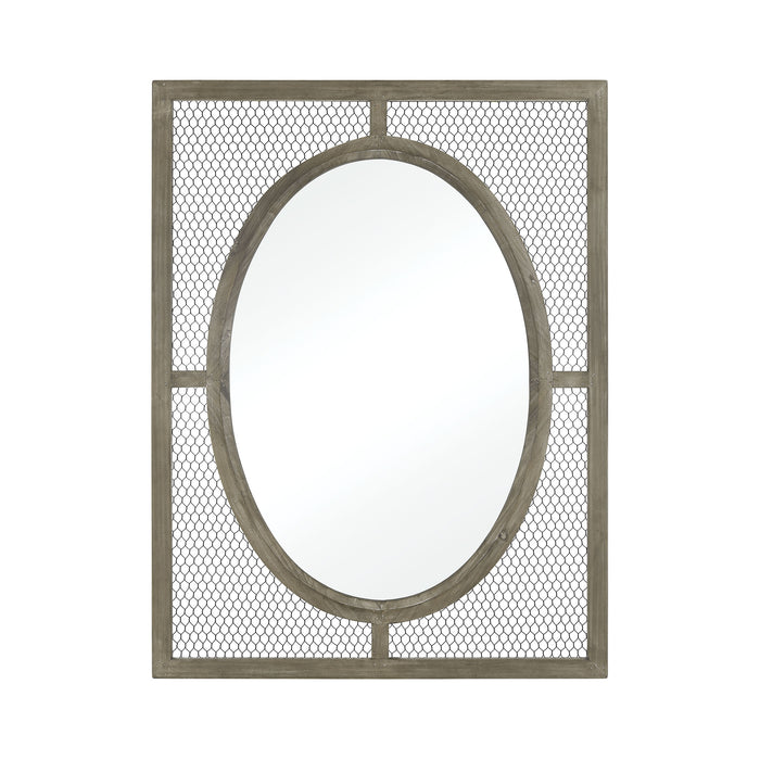3128-1061 Renaissance Invention Wall Mirror - Small Salvaged Grey Oak, Pewter