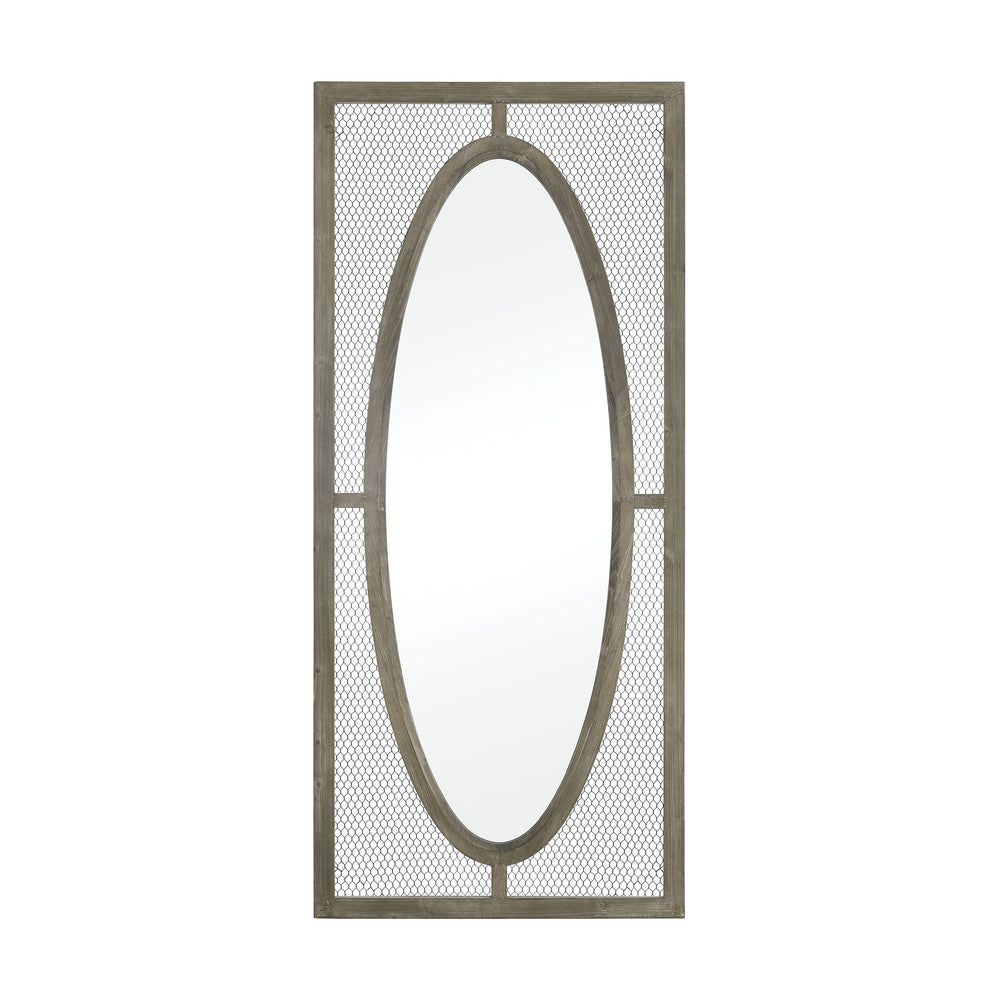 3128-1062 Renaissance Invention Wall Mirror - Large Salvaged Grey Oak, Pewter
