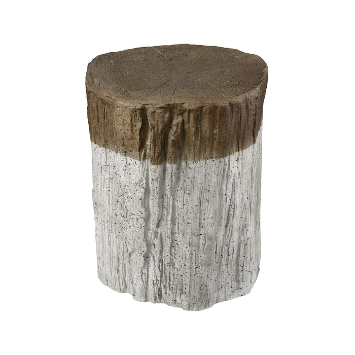 3138-292 Sutter's Fort Stool Natural Bark, Whitewash