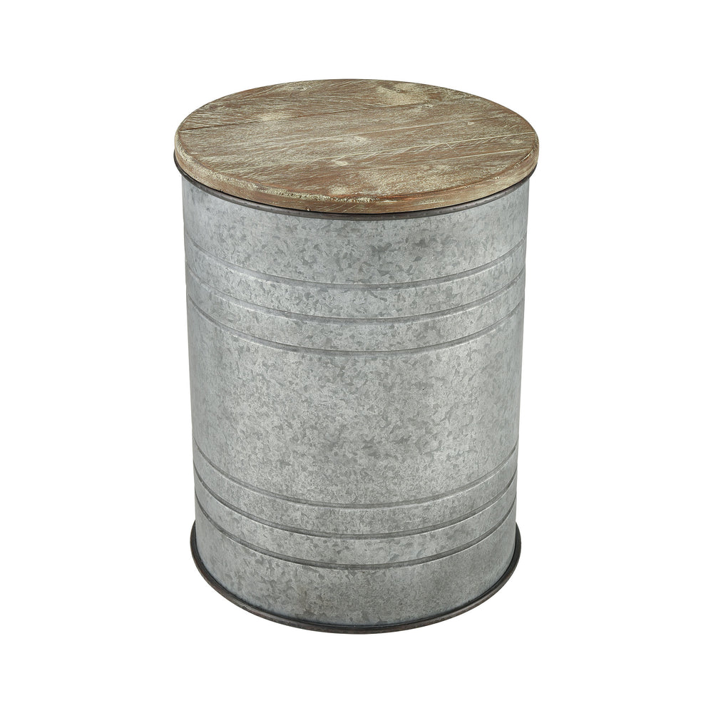 3138-412 Cannes Accent Table Galvanized Steel, Wood Tone