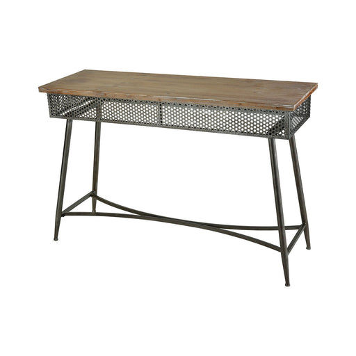 3138-418 Perf Console Dark Bronze, Medium Tone Washed Oak