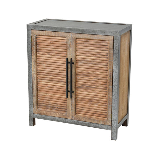 3138-451 Badlands Drifted Oak With Aged Iron 2-Door Wood And Metal Chest Drifted Oak, Aged Iron