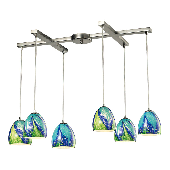 ELK Lighting 31445/6TB Colorwave Collection 6 Light Pendant In Satin Nickel Satin Nickel Free Parcel Delivery