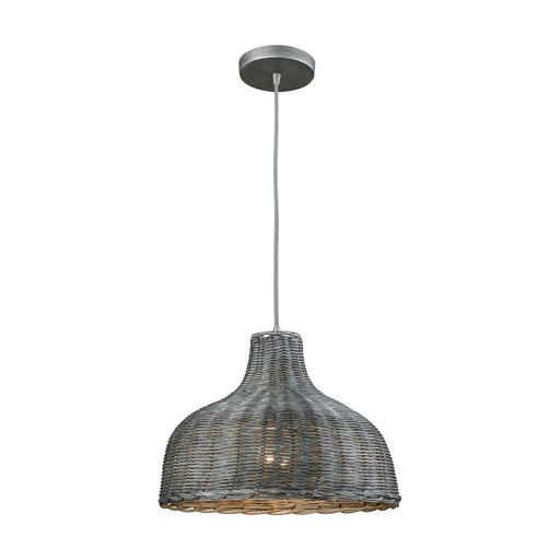 ELK Lighting 31641/1 Pleasant Fields 1 Light Pendant With Graphite Hardware And Gray Wicker Shade Weathered Grey Free Parcel Delivery