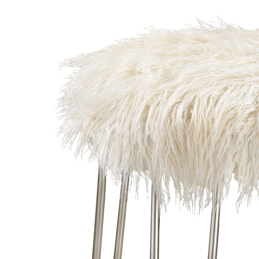 3169-018 Betty Retro Stool Silver, White Faux Fur