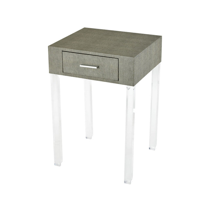 3169-065 Monaco-Ville Accent table Grey Faux Shagreen, Clear Acrylic