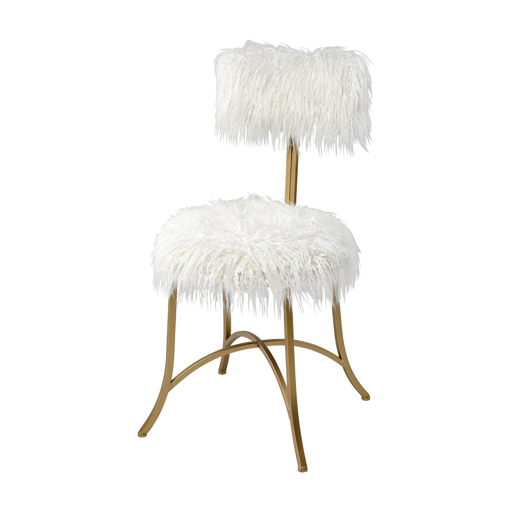 3169-090 Nazareth Chair White Faux Fur, Gold