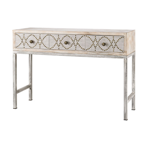 3183-016 Albiera 3 Drawer Desk Driftwood Grey, Natural Linen