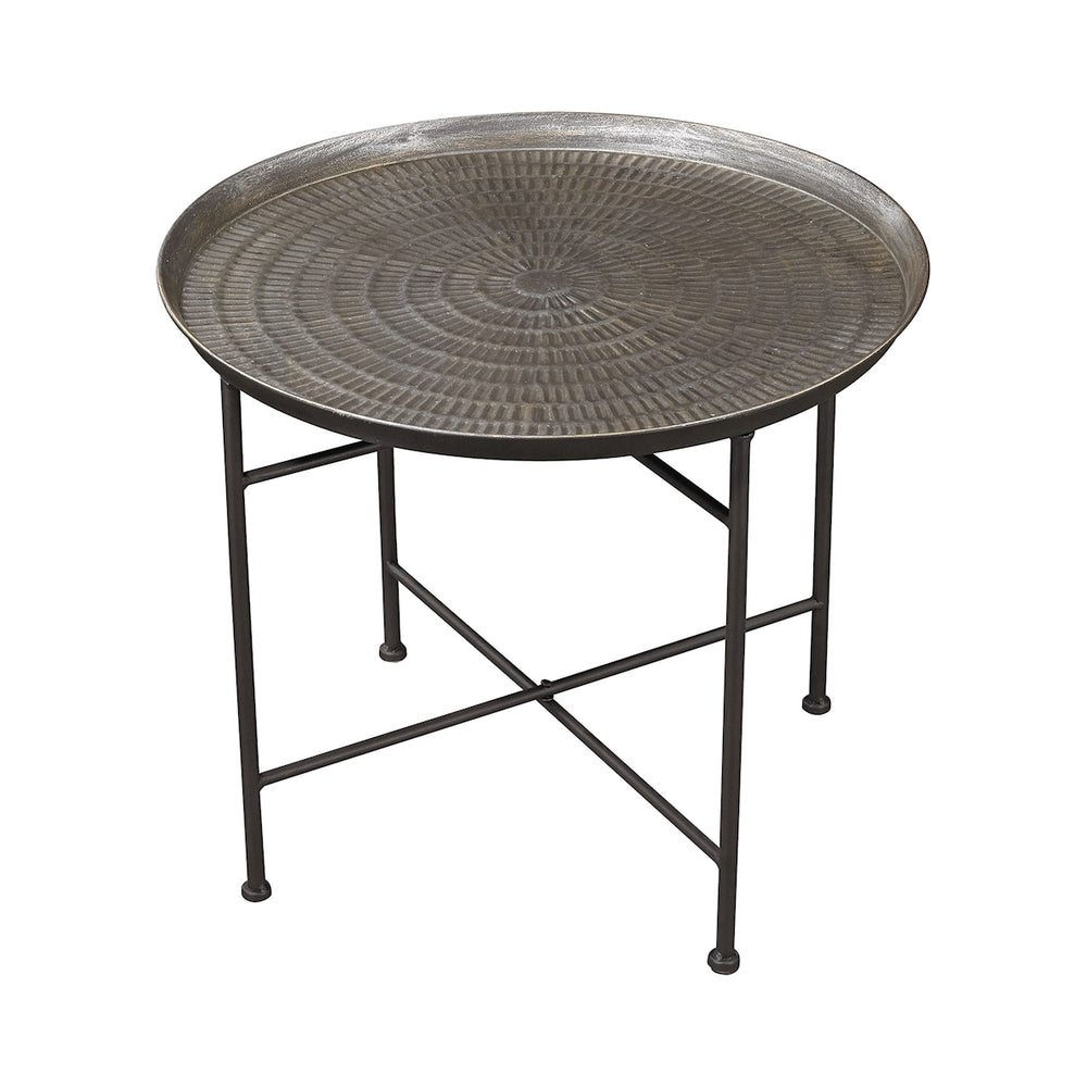 3200-009 Embossed Pewter Accent Table Metallic Rub, Pewter