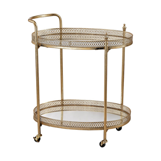 3200-032 Banded Oval Bar Cart Gold Leaf, Mirror