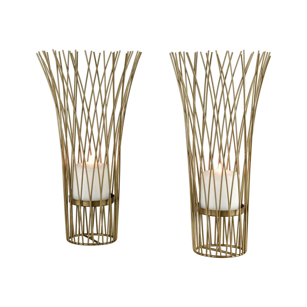 3200-163/S2 Waves Of Grain Candle Holders Gold