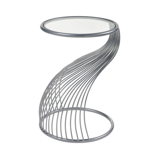 3200-201 Dynamic Tension Accent Table Silver, Clear Glass
