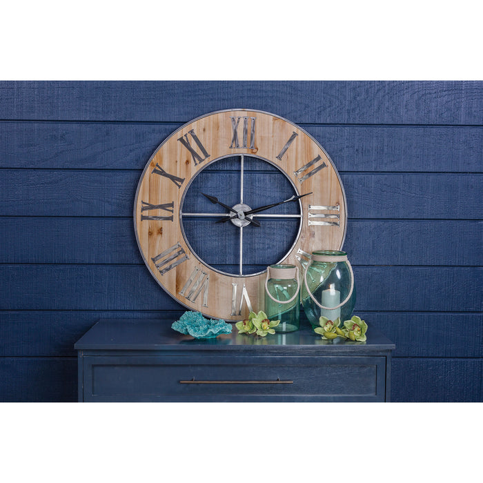 3205-002 Foxhollow Wall Clock Natural Oak Stain, Raw Steel