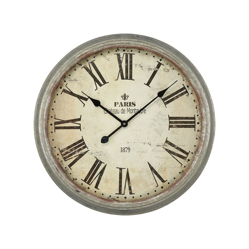 3205-008 Château De Montautre Wall Clock Salvaged Metal