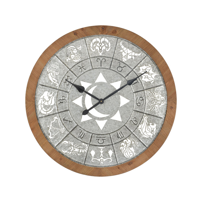 3214-1031 Astronomicon Wall Clock Galvanized Steel, Natural Wood