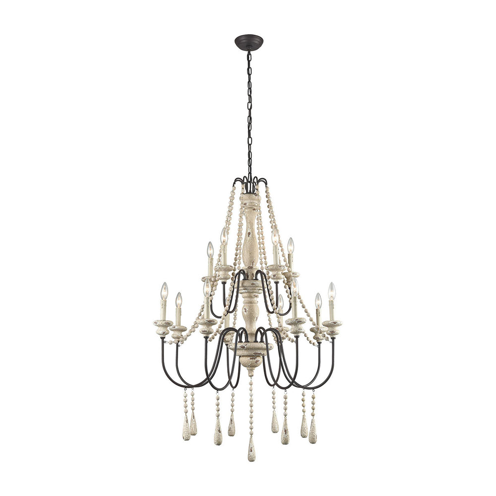 3215-006 Sommišres Chandelier - Large Antique French Cream, Dark Bronze