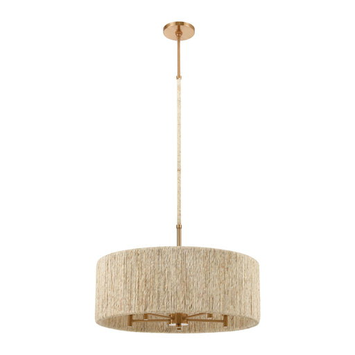 ELK Lighting 32412/5 Abaca 5 Light Pendant In Satin Brass With Abaca Rope Satin Brass Free Parcel Delivery