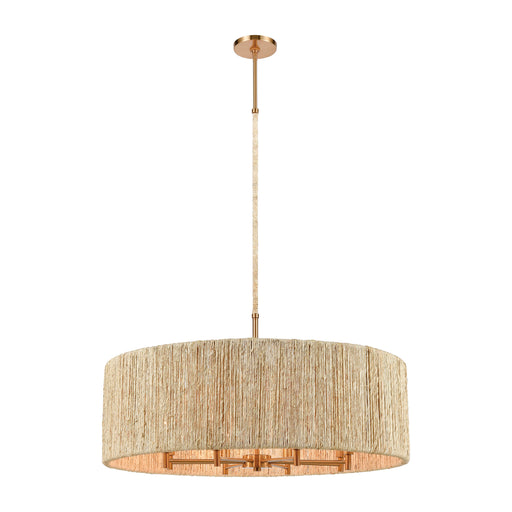 ELK Lighting 32413/8 Abaca 8 Light Pendant In Satin Brass With Abaca Rope Satin Brass Free Parcel Delivery