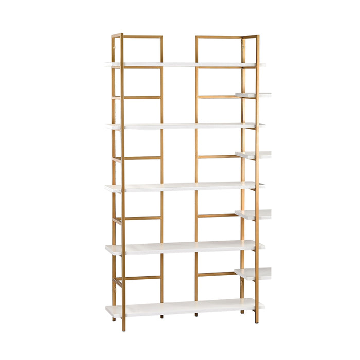 351-10204 White And Gold Shelving Unit Gloss White, Gold
