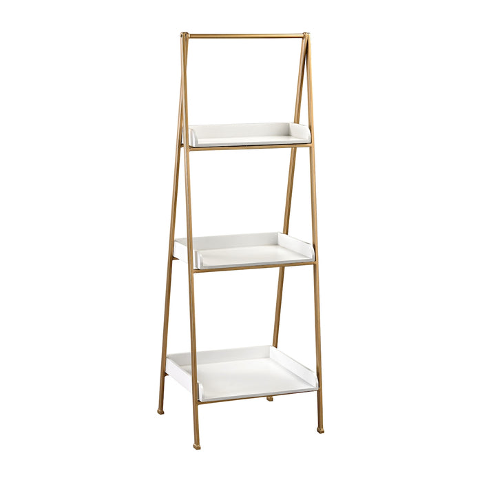 351-10205 White And Gold Accent Shelf Gloss White, Gold
