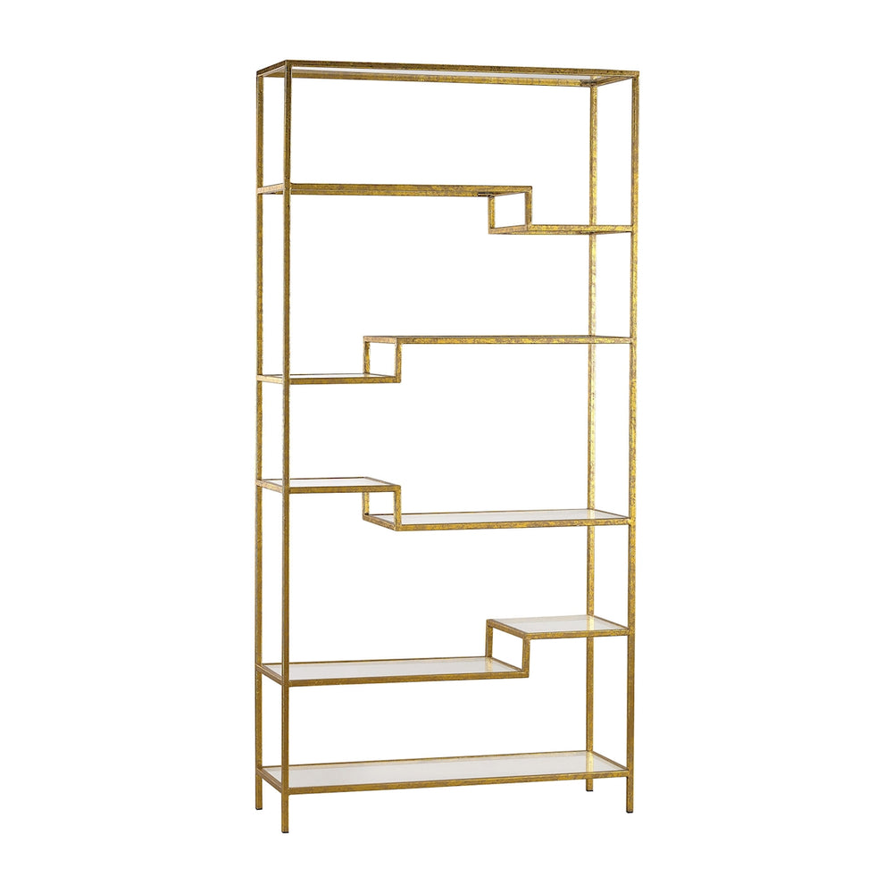351-10209 Gold And Mirrored Shelving Unit Gold, Mirror