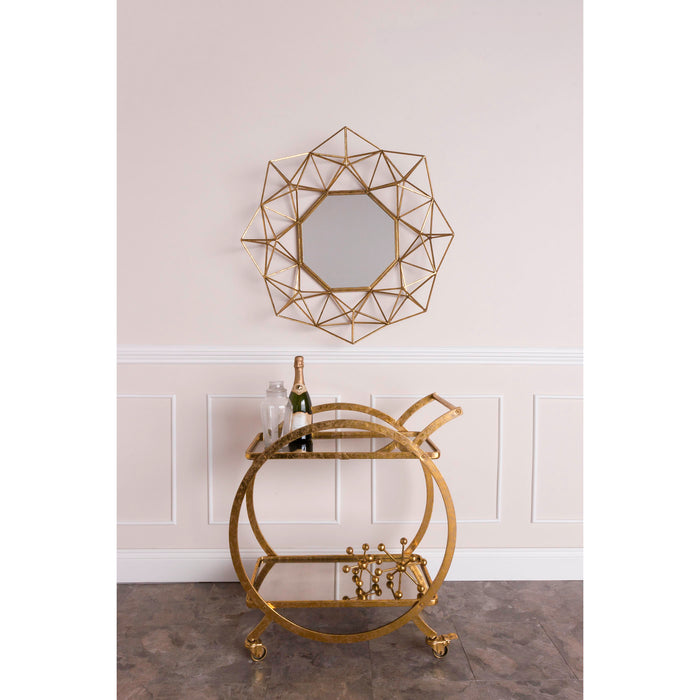 351-10212 Ring Bar Cart Antique Mirror, Gold