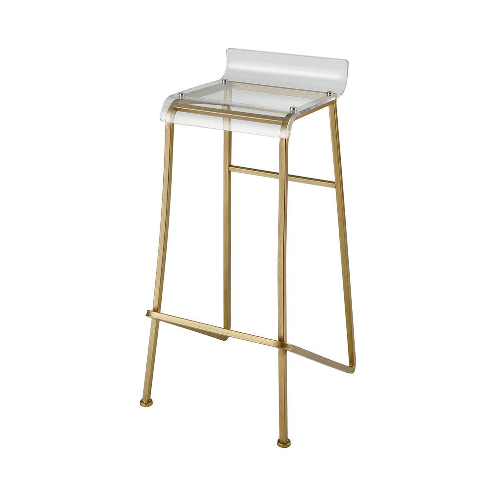 351-10263 Hyperion Bar Stool Aged Gold, Clear