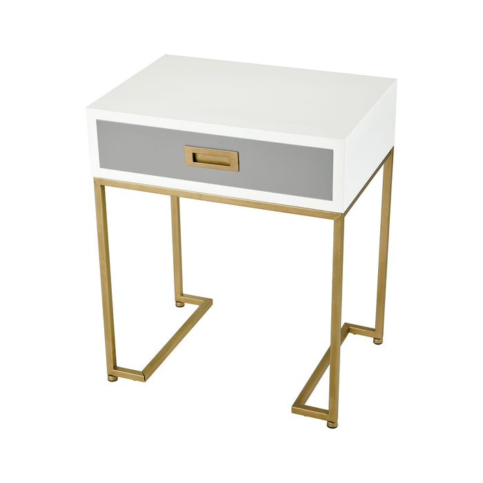 351-10294 Olympus Accent Table Aged Brass, Grey, White