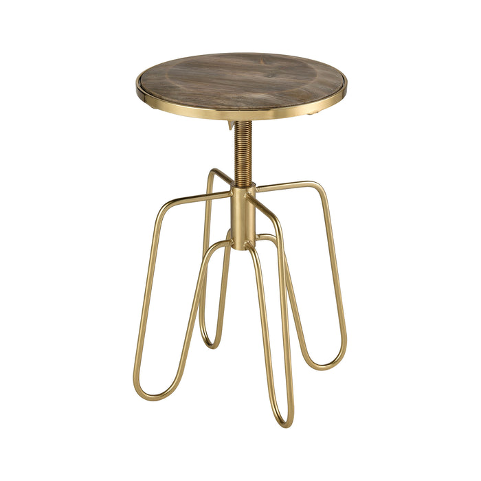 351-10559 Rhythm Kings Accent Table Gold, Salvaged Grey Oak