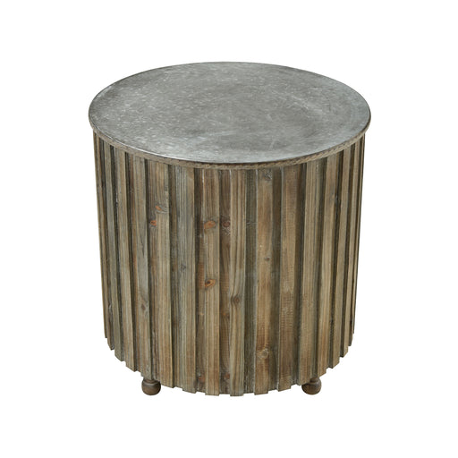 351-10593 Boone Accent Table Salvaged Grey Oak, Galvanized Steel
