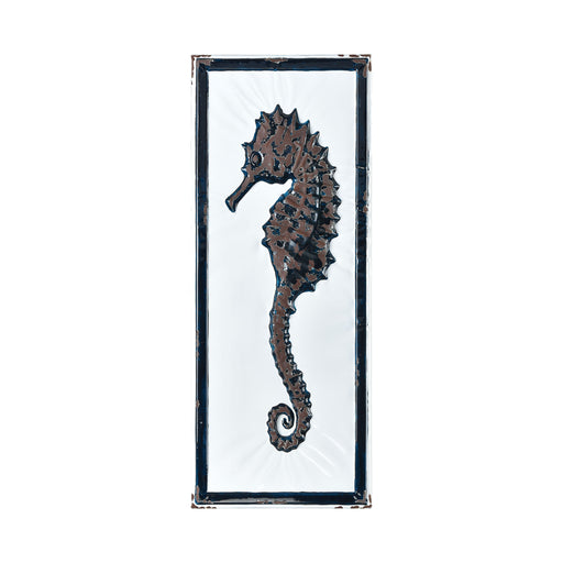 351-10620 Rock Harbor Wall Decor - Seahorse White Enamel, Navy Enamel