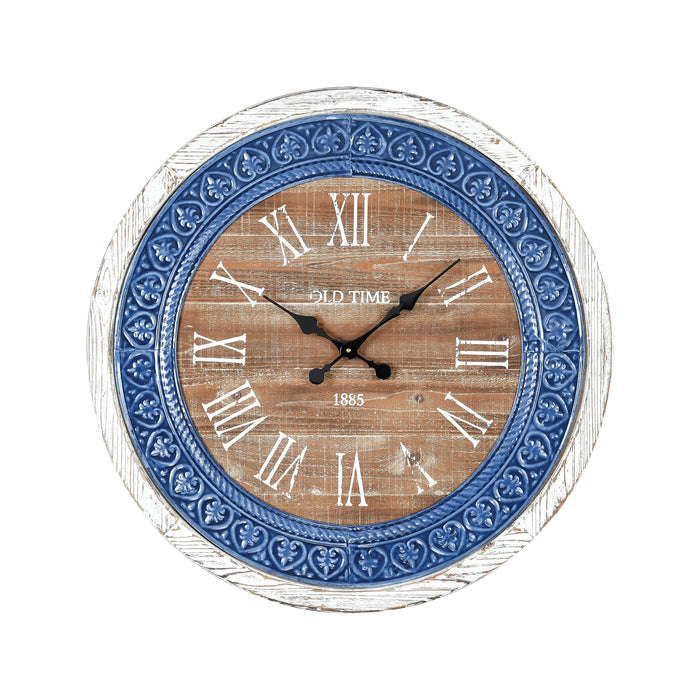 351-10624 County Cork Wall Clock Wood Tone, Blue Enamel