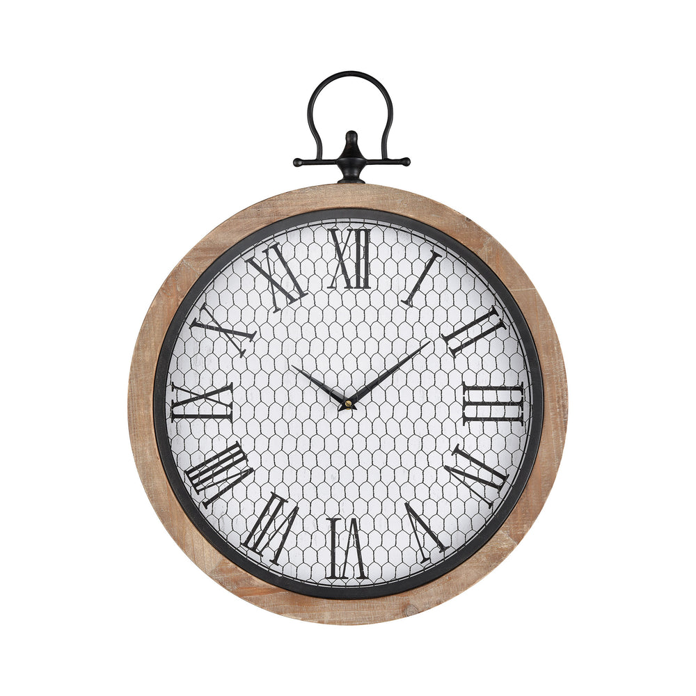 351-10747 Sioux City Wall Clock Natural Wood, White, Black