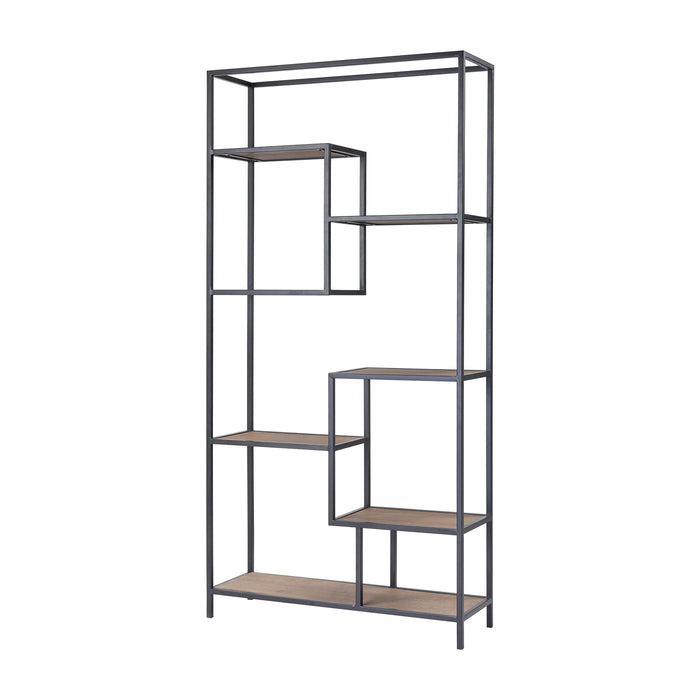351-10752 Box Office Shelving Unit Salvaged Grey Oak, Bronze